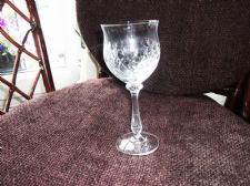 "ELEGANT VINTAGE LARGE CUT CRYSTAL WINE GLASS UNUSUAL DESIGN 8"" EXCELLENT COND"